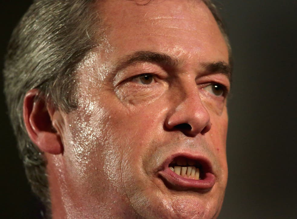 Leader of UKIP Nigel Farage addresses delegates during his keynote speech on September 20, 2013 in London, England. On Wednesday he rejected a proposal for Muslims to sign a charters rejecting violence.