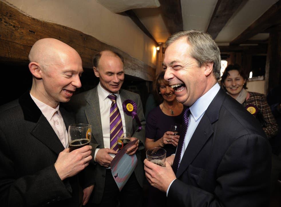 Ukip leader Nigel Farage at the Kings Arms pub in Amersham in Buckinghamshire
