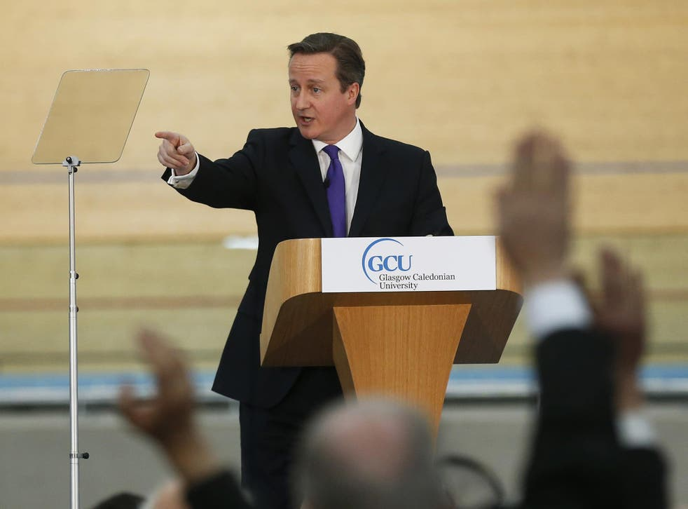 Prime Minister David Cameron delivers a speech at the Olympic Park in London