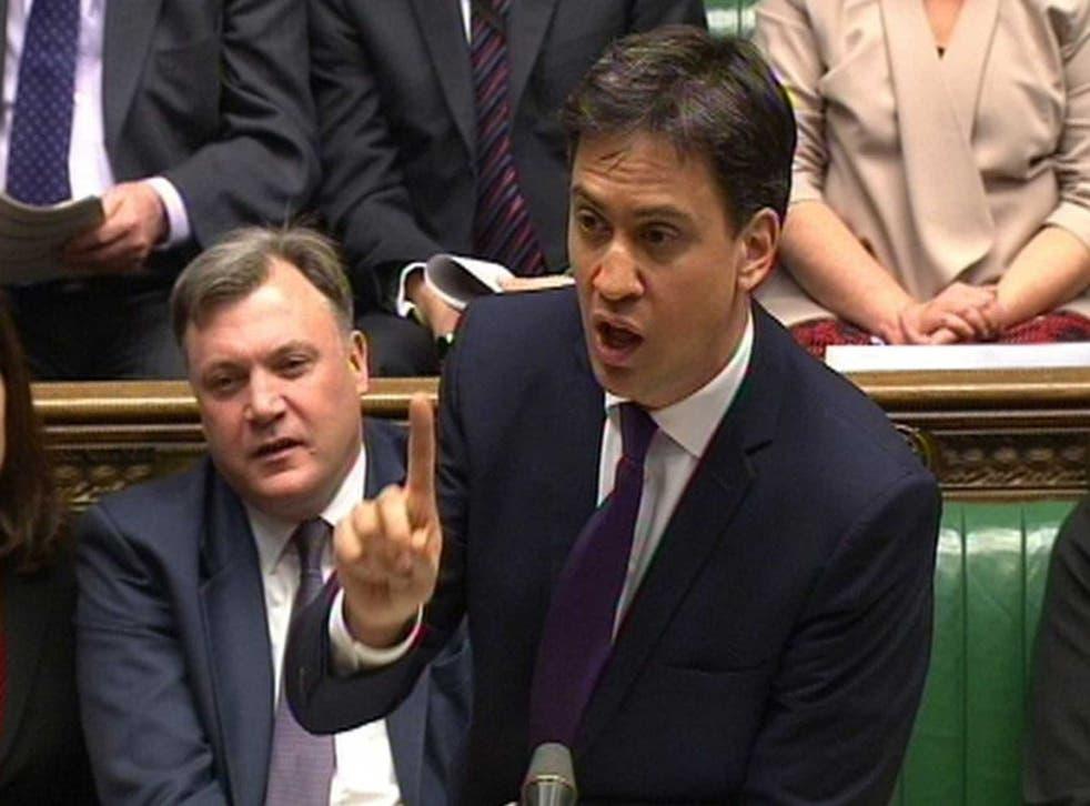 Ed Miliband accusing David Cameron of 'failing' women at PMQs last week