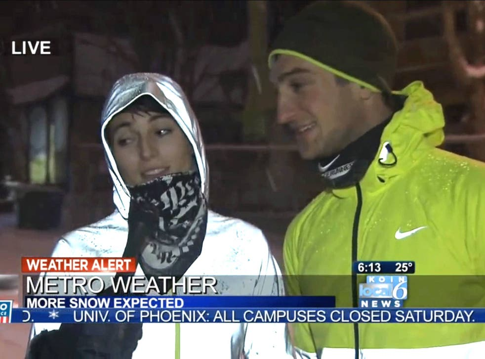 The joggers fell victim to the snow with perfect comic timing