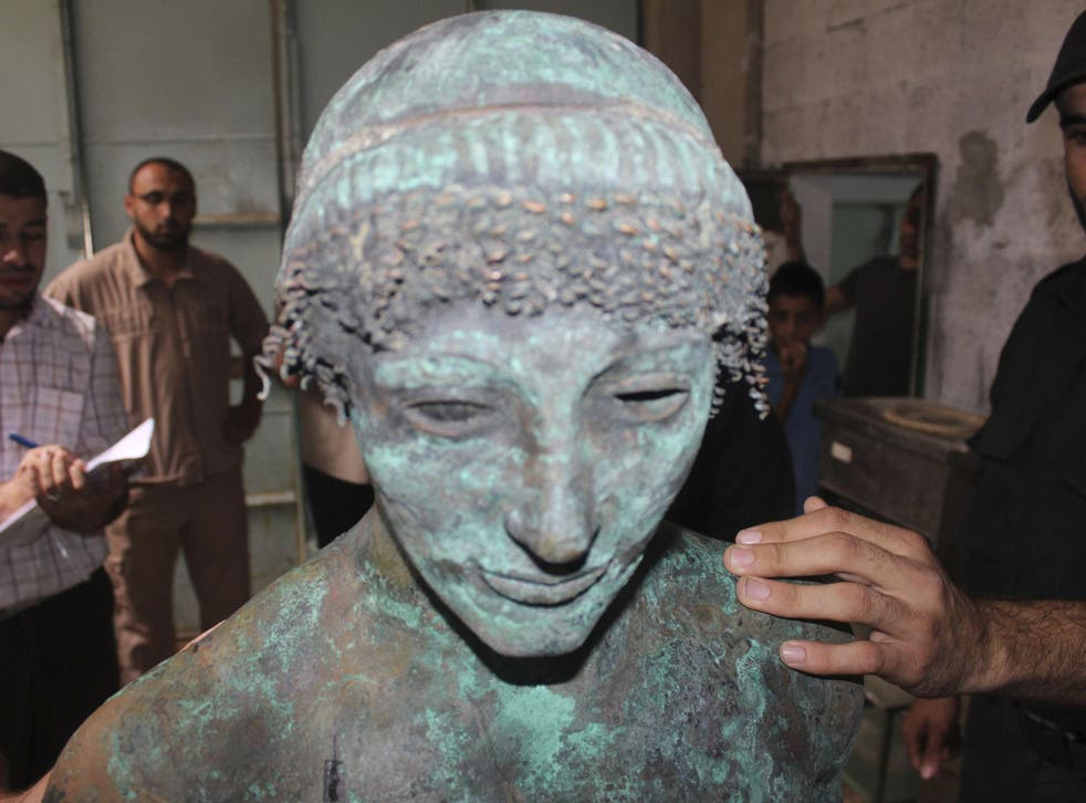 A bronze statue of the Greek god Apollo is pictured in Gaza