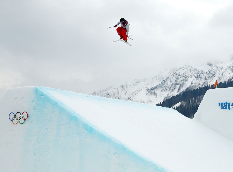 Devin Logan competes in the skiing slopestyle finals