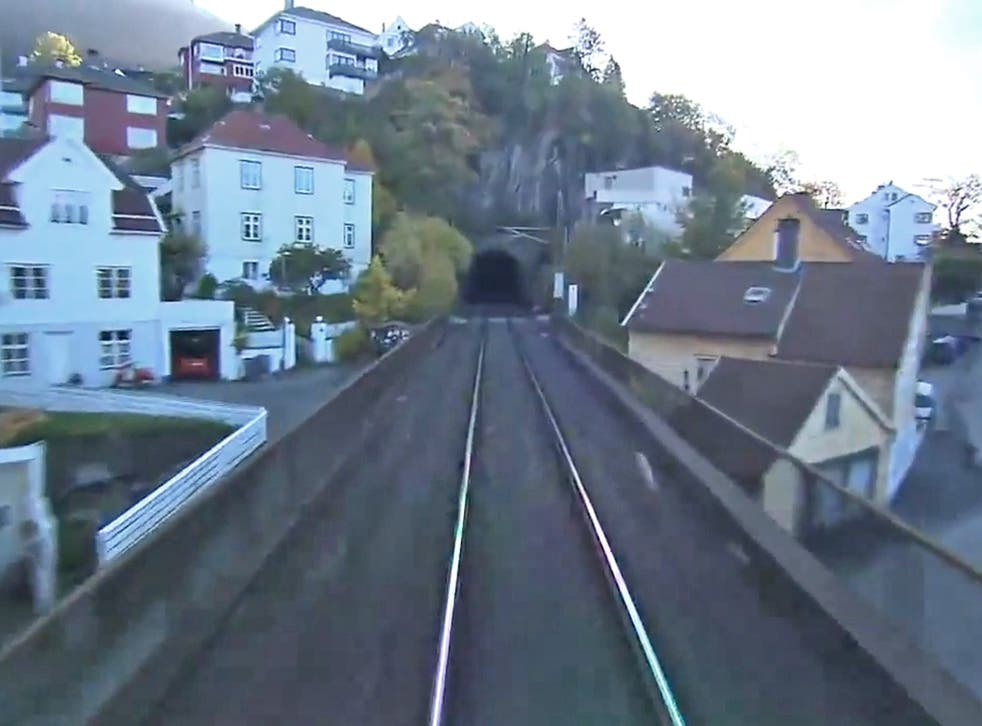 Tunnel vision: a shot from the seven-hour broadcast of a live train journey from Oslo to Bergen