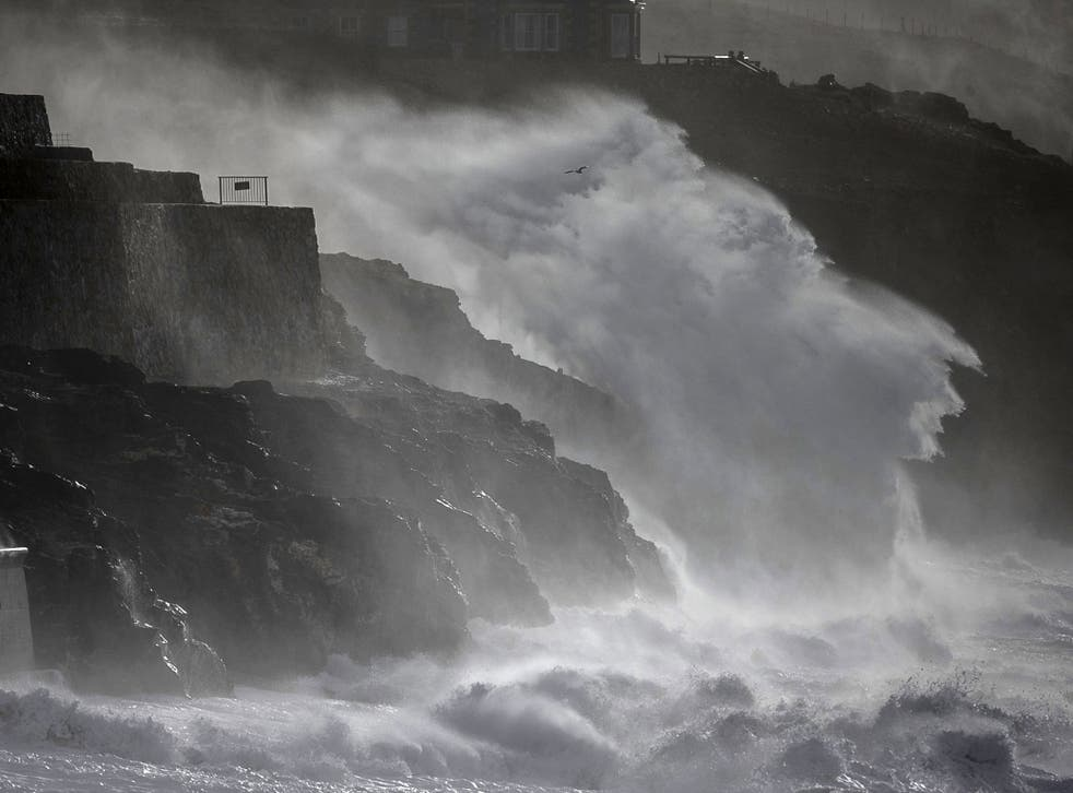 Storm waves break at the end of last week at Porthleven in Cornwall, England. The UK is bracing itself for more storms