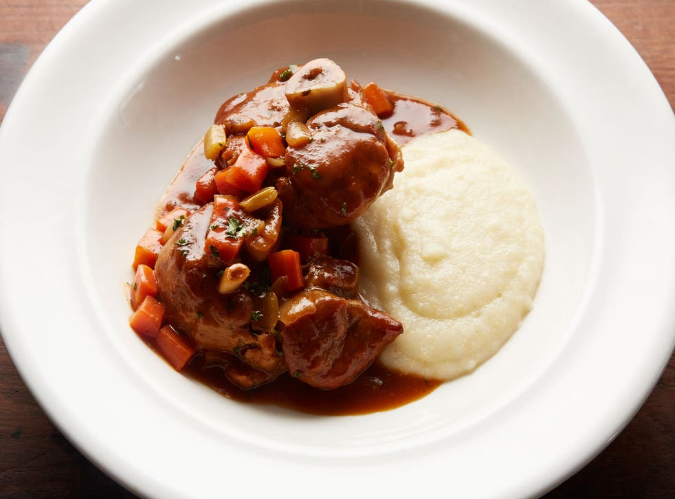 Serve Pork Osso bucco with creamed polenta or mashed potato