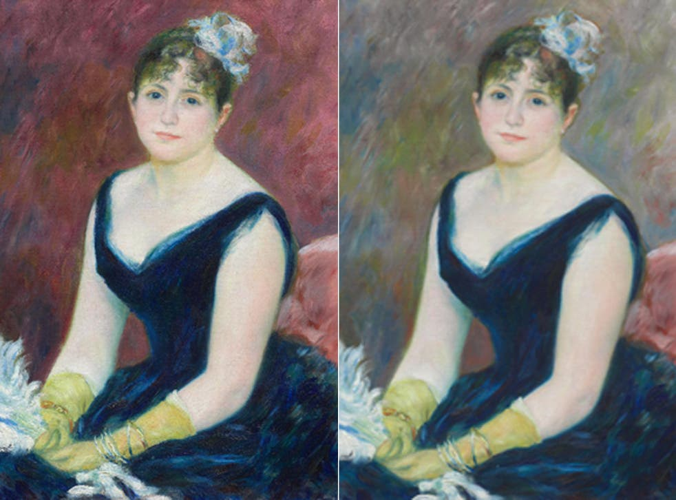 A visualization of the painting in its original appearance (left) and the original Madam Leon Clapisson (1883)