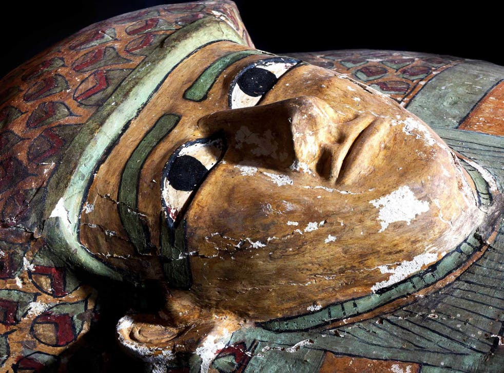 The mummy's preserved wooden sarcophagus after being cleaned up
