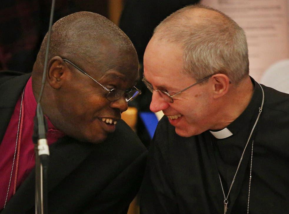 The Archbishop of York John Sentamu (L) talks to The Archbishop of Canterbury Justin Welby