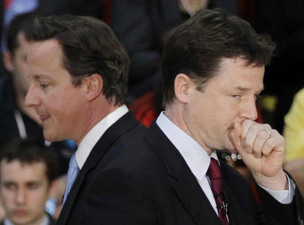 Nick Clegg implies that Labour looks like a party of government, while Tories are no longer 'mainstream'