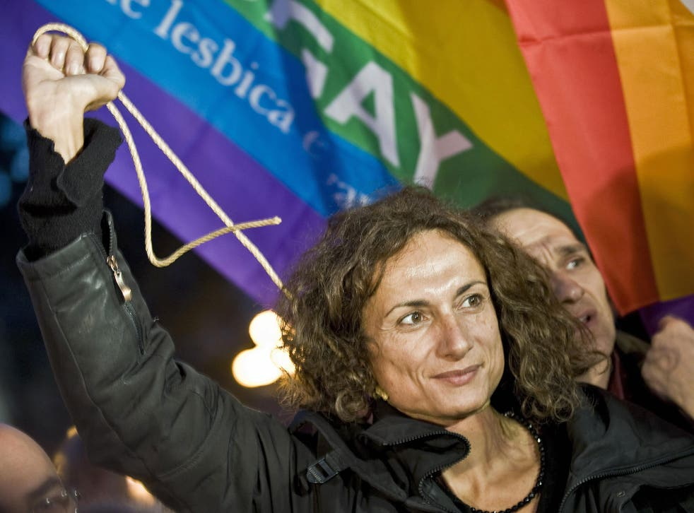 A 2008 image showing the then-Italian MP Vladimir Luxuria taking part in a sit-in at St Peter's Square in the Vatican