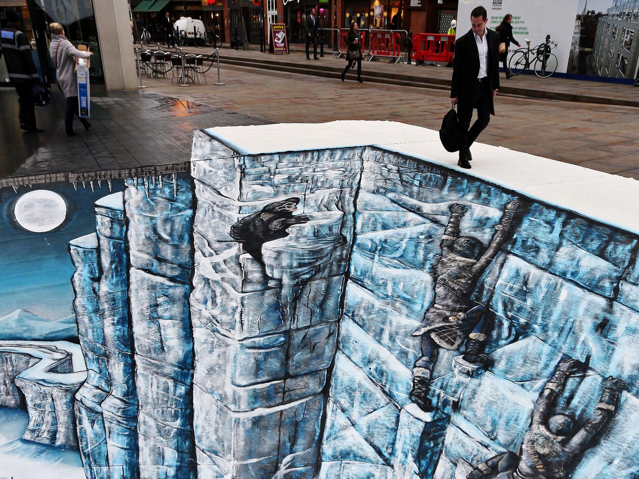 Game Of Thrones Wall Art game of thrones 'wall' recreated as 3d street art installation in