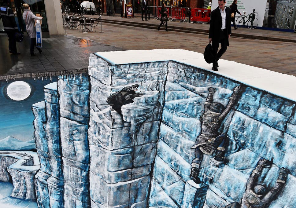 A Passer By Stares Down At The Wall Created 3D Street