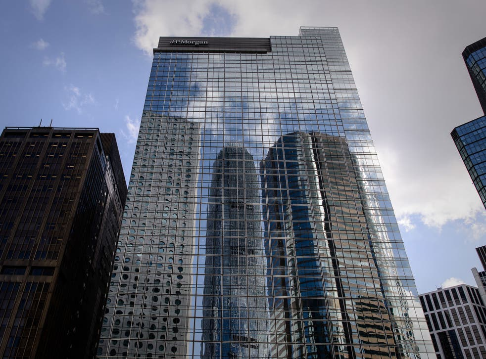 A picture taken of 30-floor Chater House tower housing the headquarters of investment bank JPMorgan in Hong Kong