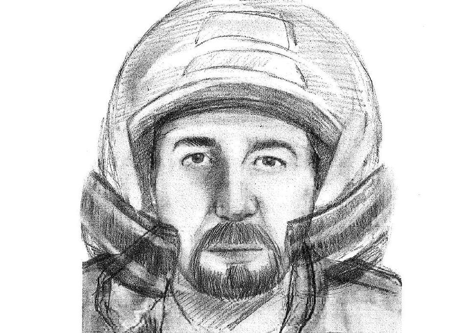 An artist's impression of the motorcyclist seen close to the murder scene