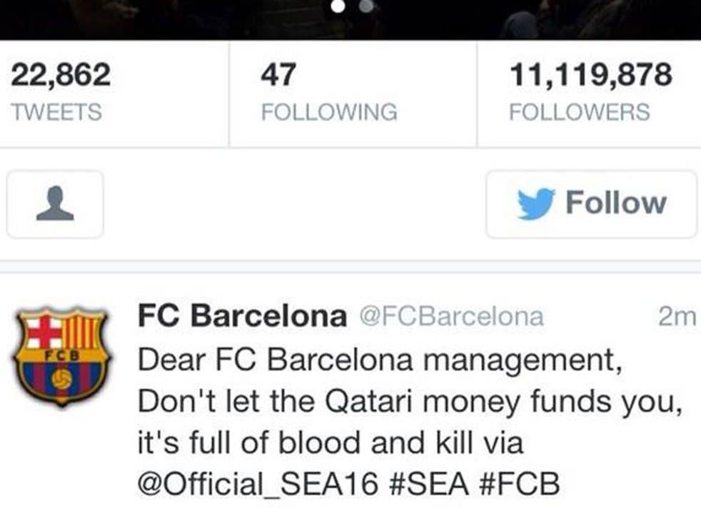 Barcelona's Twitter account last night