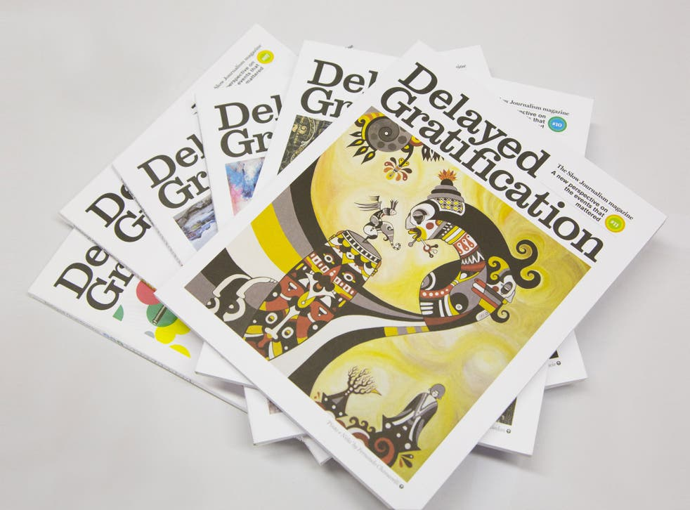 The news-based Delayed Gratification is one of 22 independent titles distributed by Stack