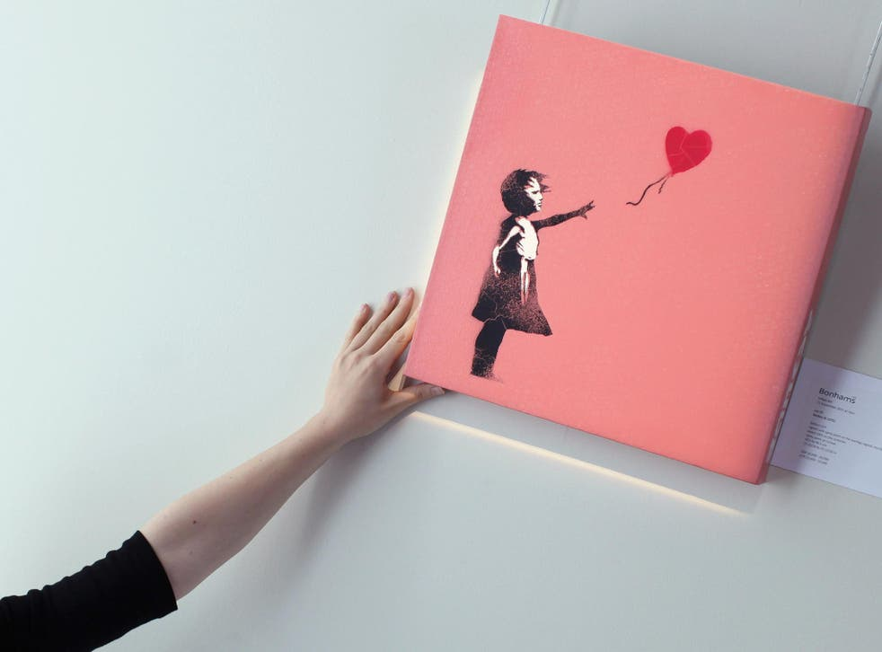 An image of 'Girl with Red Balloon' - the original has been removed by a team of specialists