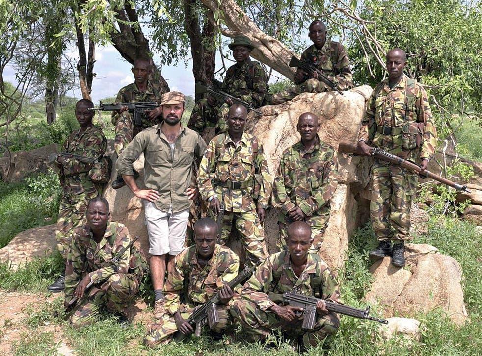 Evgeny Lebedev with wildlife rangers in Laikipia, Kenya