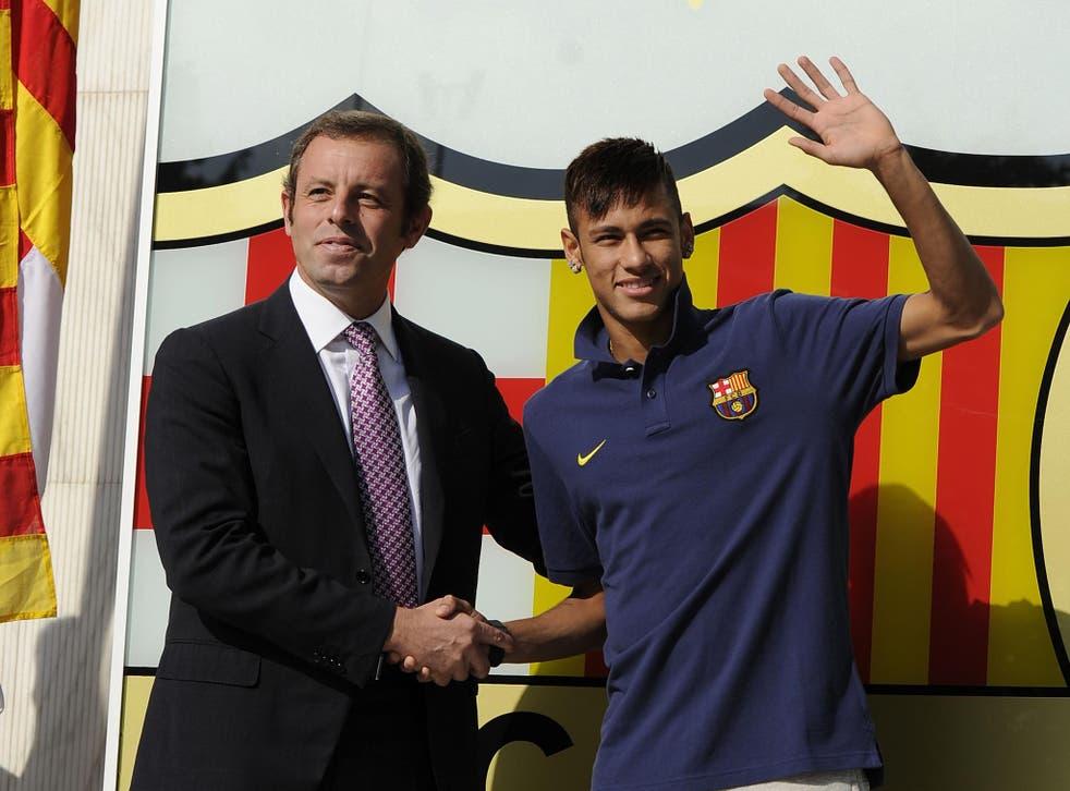 Neymar and former Barcelona president Sandro Rosell