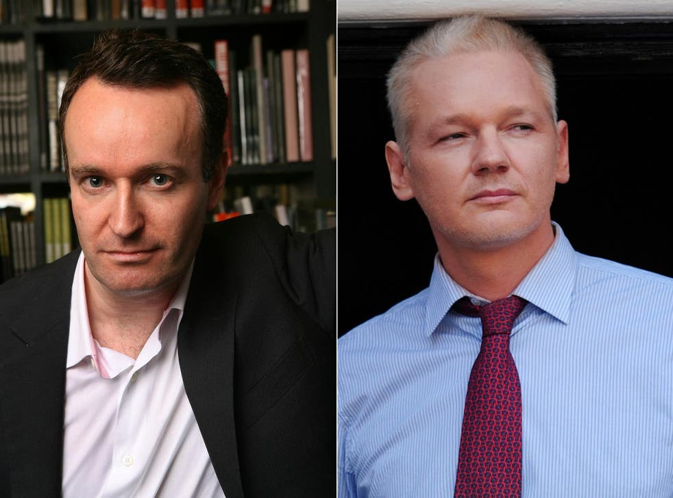 Ghost writer Andrew O'Hagan (left) and Julian Assange