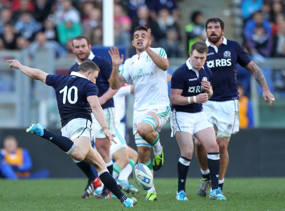 Duncan Weir scores the match-winning drop goal as Scotland beat Italy 21-20