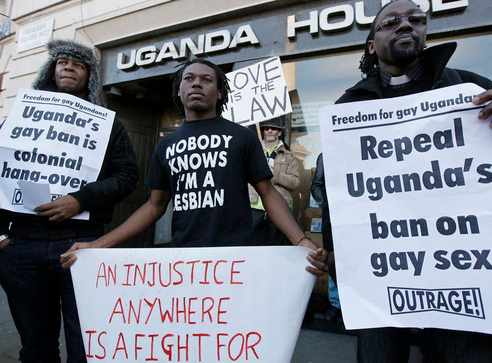 Demonstrators protest outside the Ugandan embassy, in central London, on December 10, 2009.