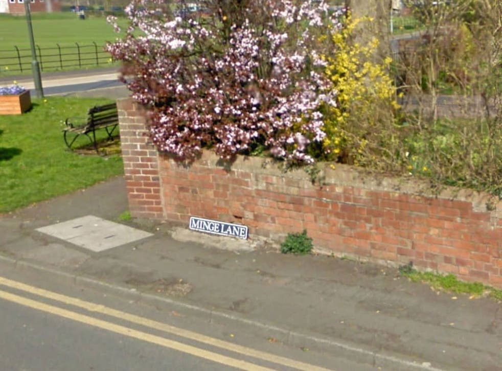 Minge Lane, in Upton-upon-Severn, Worcestershire, was voted the UK's most embarrassing street name