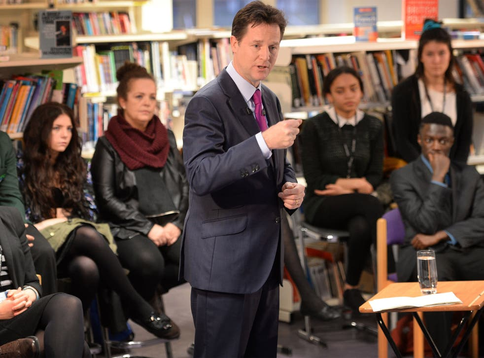 Deputy Prime Minister Nick Clegg holds a question and answer session with students at Bishop Challoner Catholic Collegiate School in east London