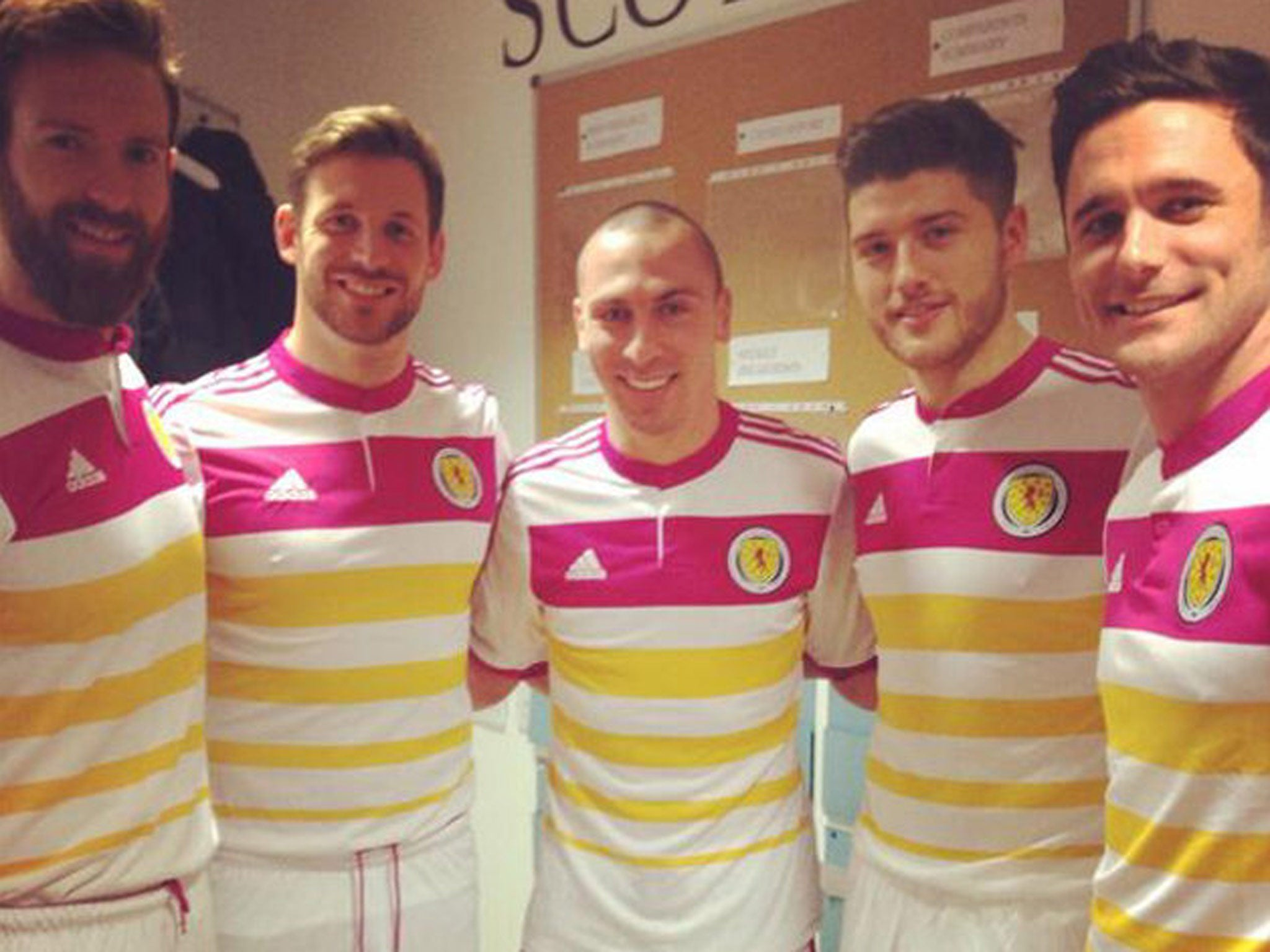 Scotland away kit: Pink and yellow strip receives mixed reception ...