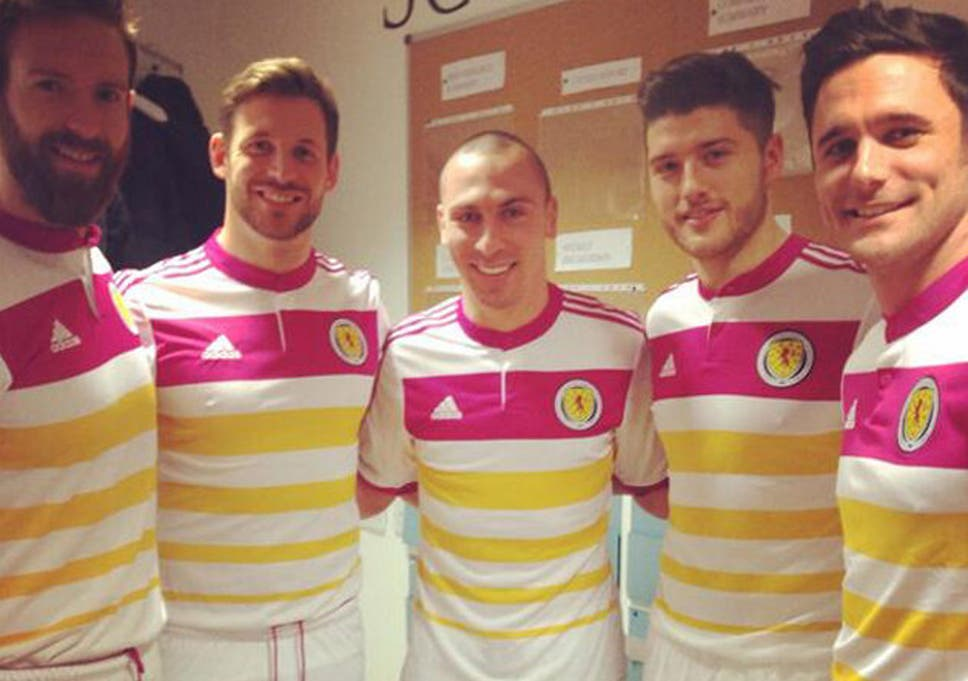 b7281b44e2f Scotland away kit: Pink and yellow strip receives mixed reception ...