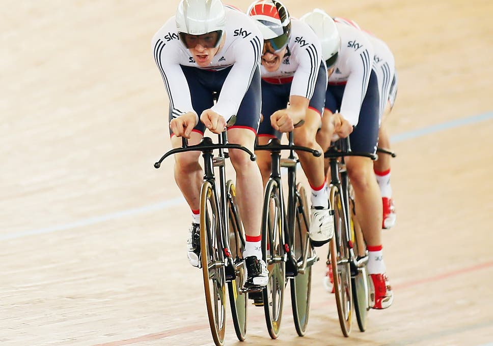 Ed Clancy leads the Great Britain team in men's team pursuit in their doomed bid to qualify on day one of the 2014 UCI Track Cycling World Championships