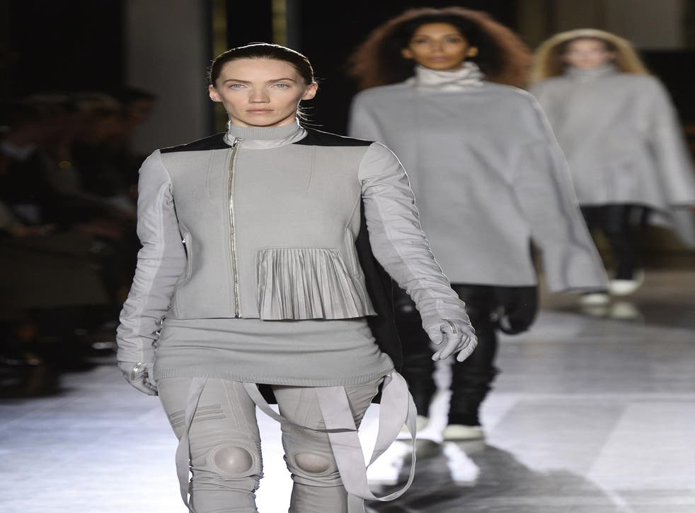 Designer Rick Owens returned to his trademark glamorous grunge – and went heavy on the leather – on the Paris catwalk