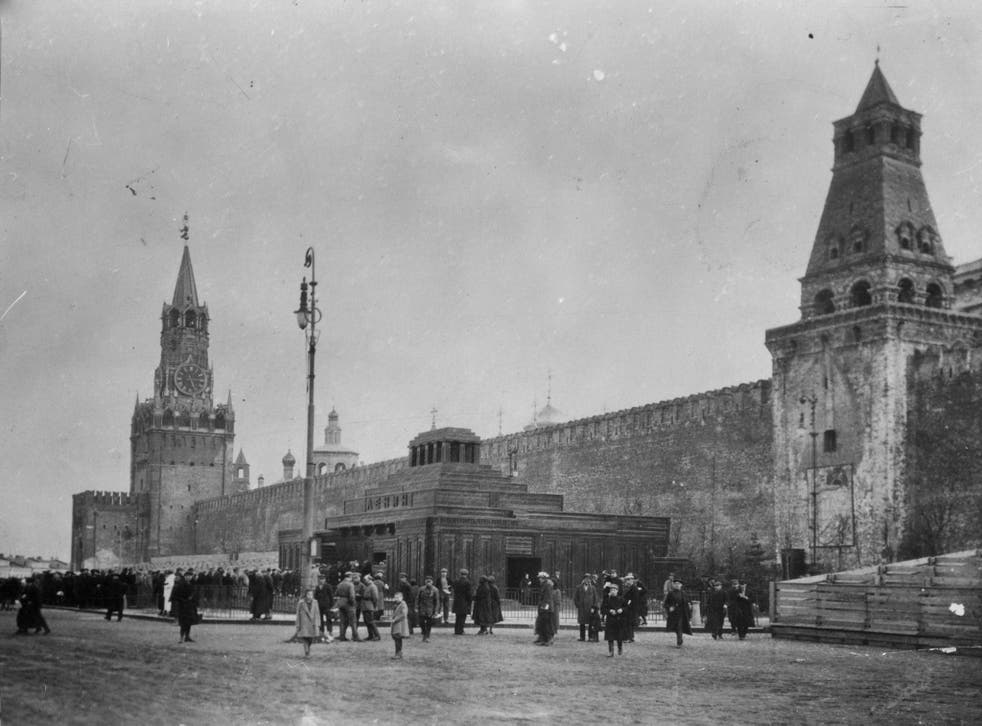 Soviet era: crowds outside Lenin's tomb, Red Square, Moscow