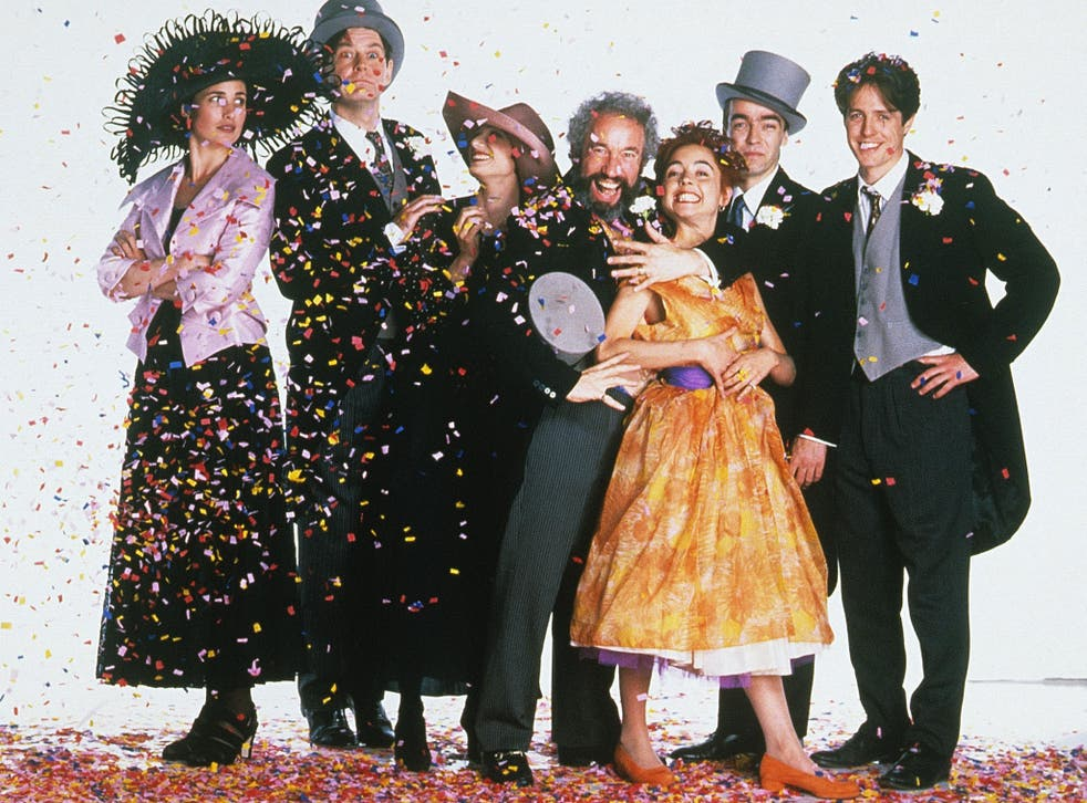 Some of the cast of Four Weddings... From left to right: Andie MacDowell, James Fleet, Kristin Scott Thomas, Simon Callow,Charlotte Coleman, John Hannah, Hugh Grant