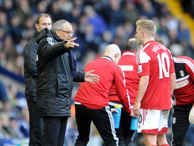 Fulham manager Felix Magath makes a gesture from the touchline