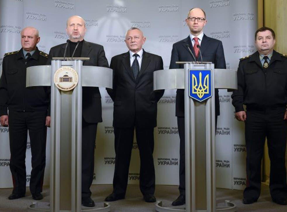 Ukraine's interim President Olexandr Turchynov (second from left)