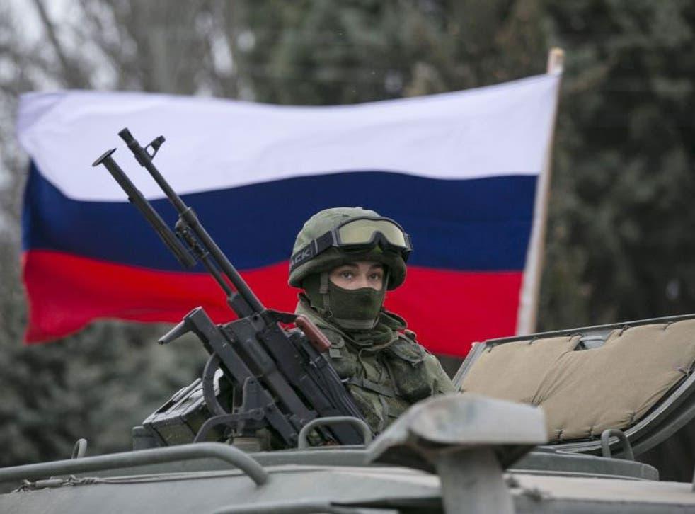 A Russian army vehicle outside a Ukrainian border guard post.