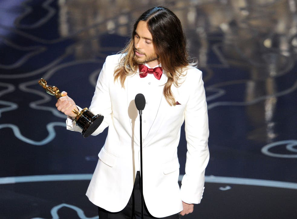 Jared Leto with his Oscar for Best Supporting Actor