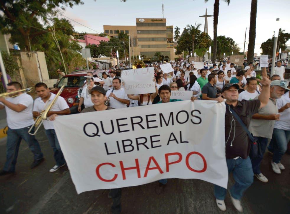 People protest in support of Mexican drug kingpin Joaquin Guzman Loera, aka 'el Chapo Guzman' at Culiacan, Sinaloa State, Mexico.