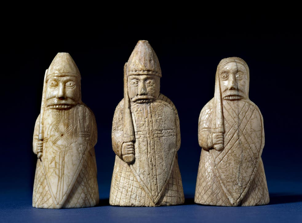 Figures of berserkers made from walrus ivory