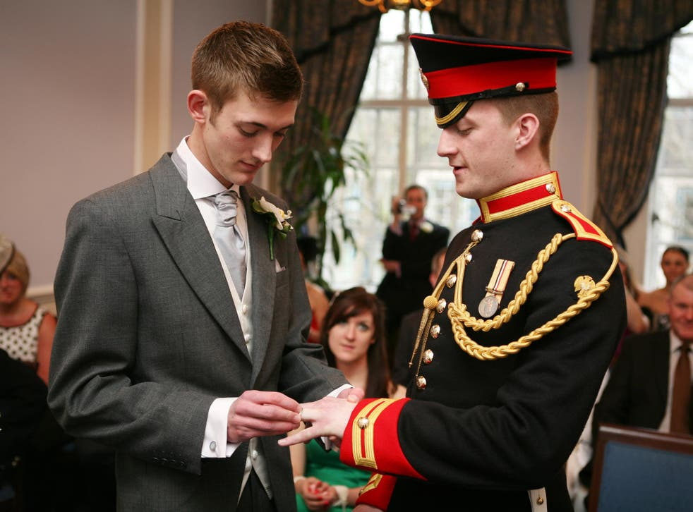 James Wharton, right, and Thom McCaffrey at their civil partnership ceremony in 2010