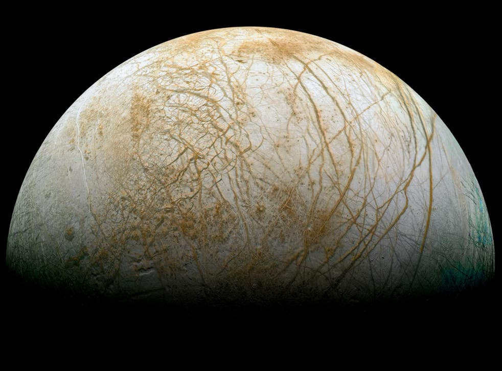 The icy surface of Europa is covered in streaks and cracks but is still one of the smoothest in the solar system.
