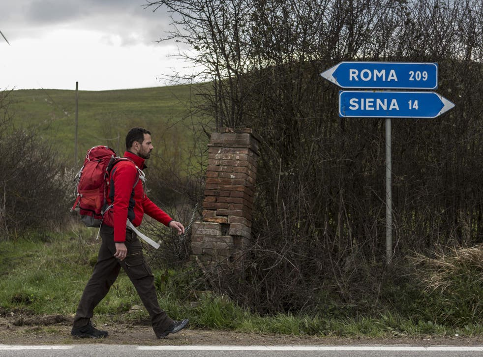 The rogue trader Jérôme Kerviel on his long walk back to Paris from Rome after meeting Pope Francis