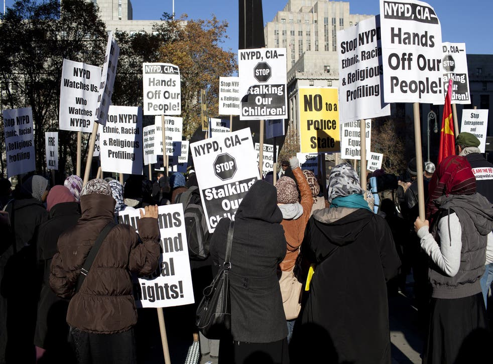 Hands off: a protest in New York against the ongoing harassment of Muslims by the city's police department and the CIA