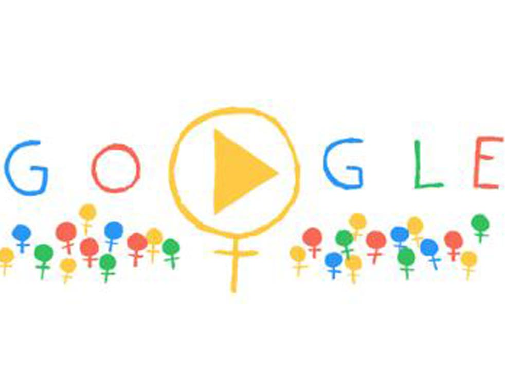 Google has marked International Women's Day with an animated doodle using Venus symbols to represent every woman across the world.