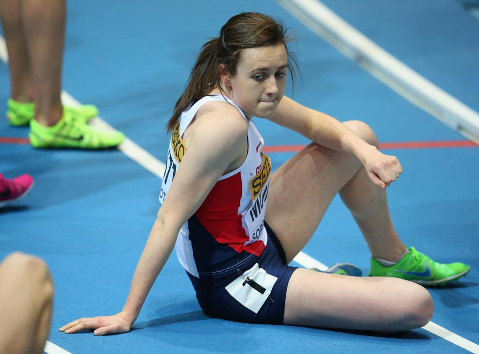 Laura Muir is disconsolate as she dwells on her failure in the 800m