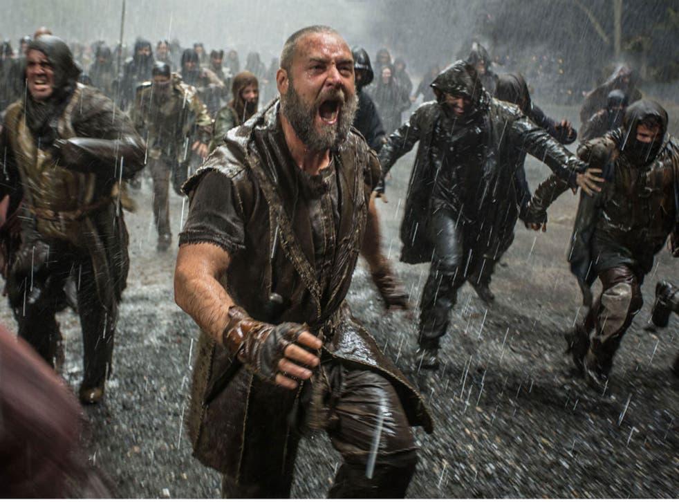 Russell Crowe in a dramatic scene from Darren Aronofsky's Noah
