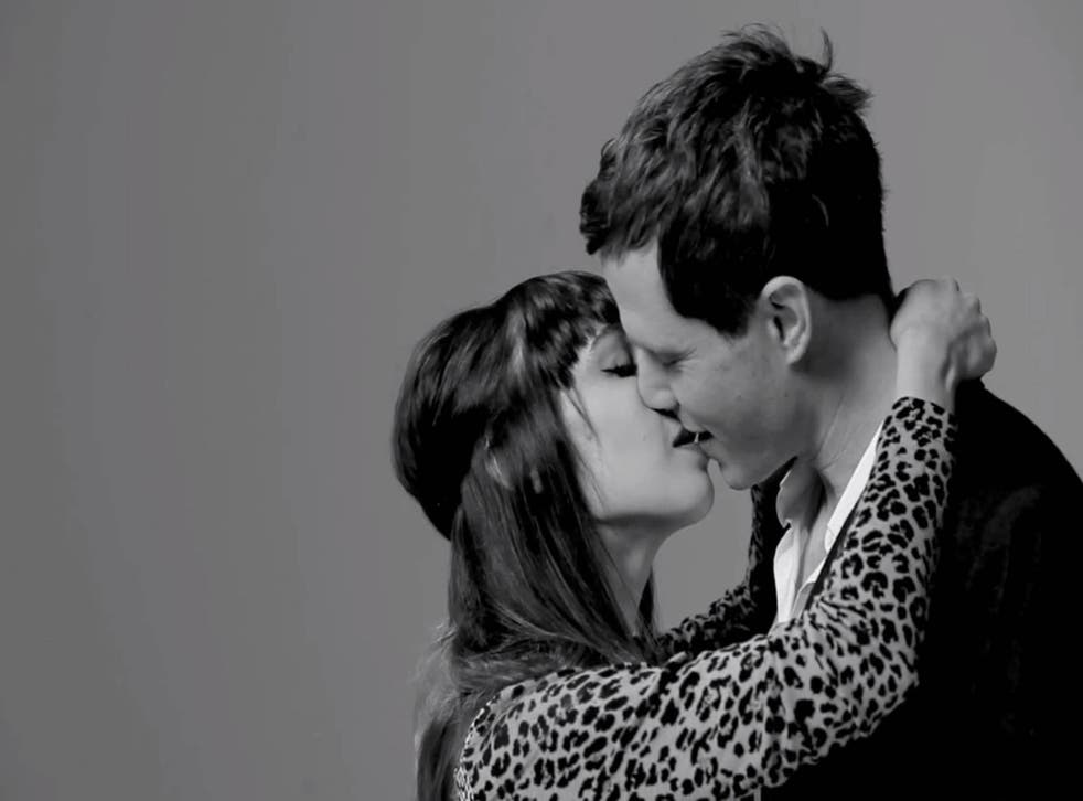 Ten pairs took part in the mass kissing video