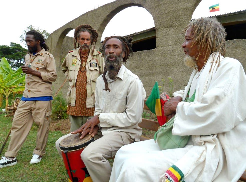 Rastafarians gather in Shashemene, Ethiopia on April 21, 2012 to celebrate the anniversary of Ethiopian Emperor Haile Selassie's visit to Jamaica in 1966